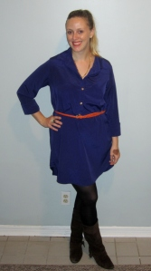 Showing off my swap success! New shirt dress, belt, necklace and boots.